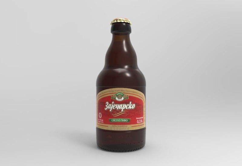 3D model zajecarsko beer bottle