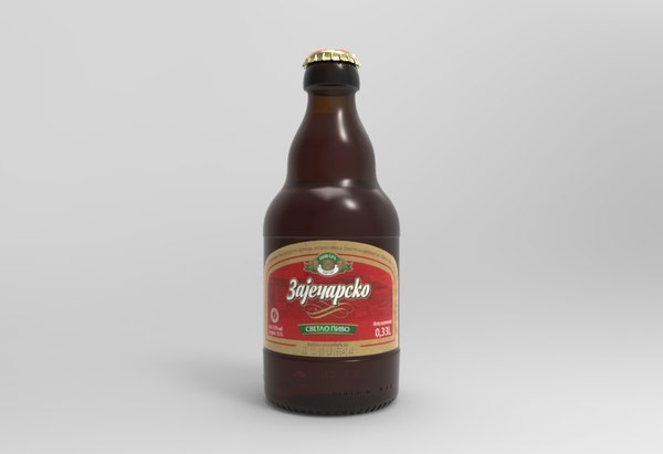 3D model zajecarsko beer bottle
