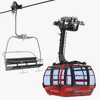 3D ski lift cabin model