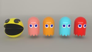 3D pacman 4 ghosts