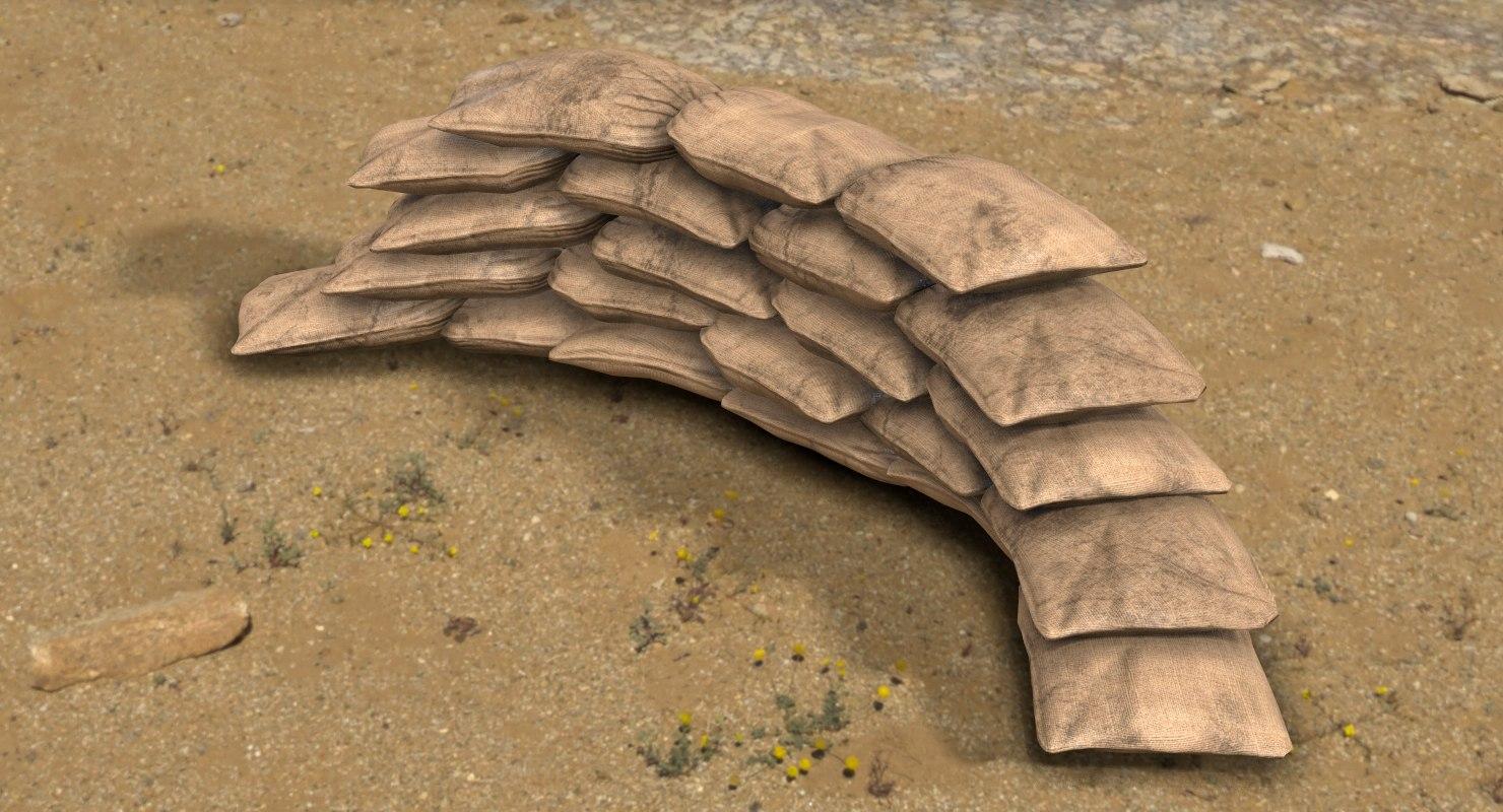 3D sandbag barricade model