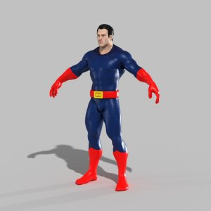 3D model superhero hero super