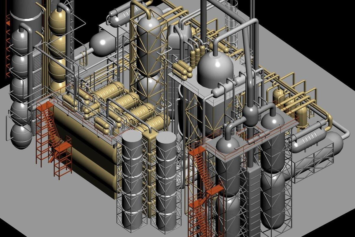 futuristic factory 3D model