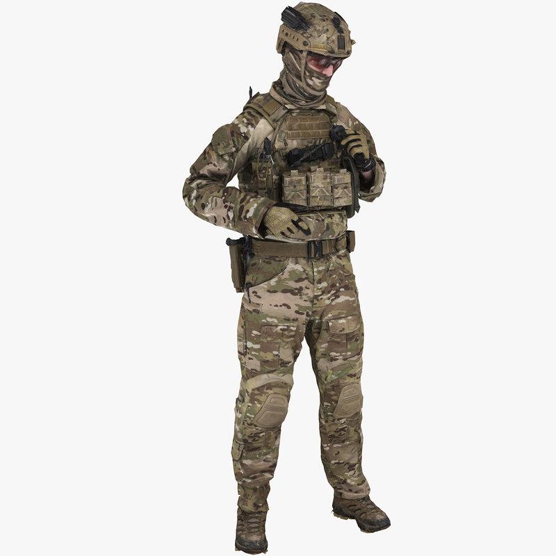 australian combat soldier 3D model
