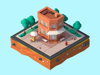 Cartoon Low Poly Brooklyn Small House Building