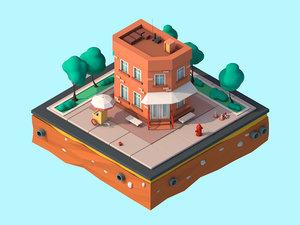 cartoon house building model