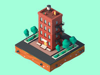3D design cartoon building