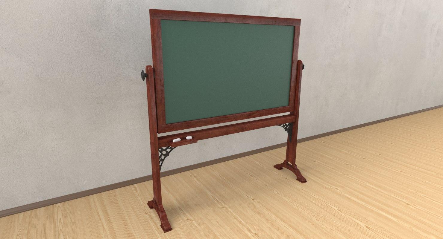 3D model chalkboard chalk old
