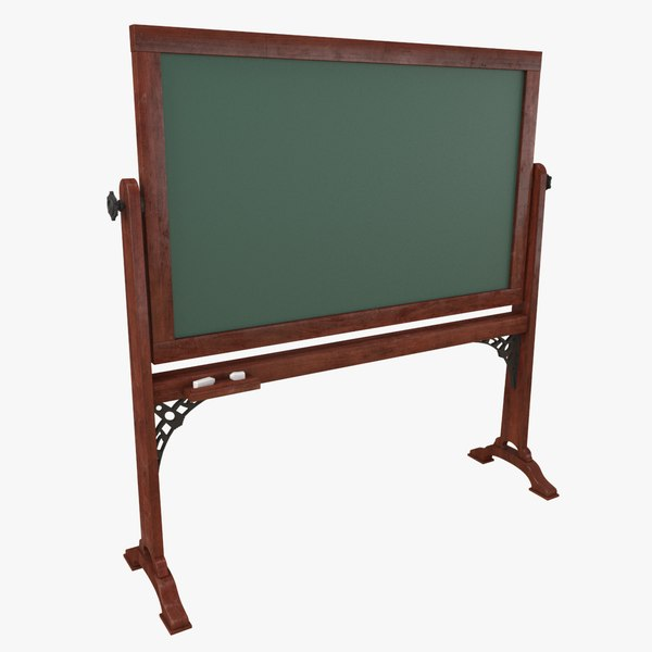 3D model chalkboard chalk old