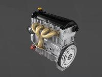 3d animated vehicle engine running