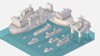 Isometric Big Boat Vessel Drill Ship Platform