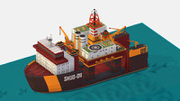 isometric Heavy Lift Vessel with Big Oil Rig