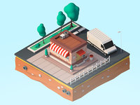 Cartoon Low Poly City Shop Building