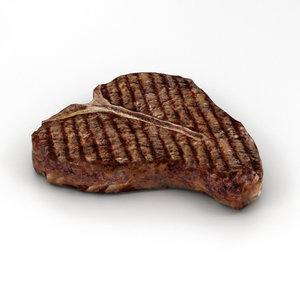t-bone steak cooked model