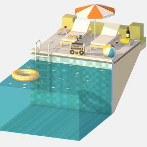 3D pool isometric summer