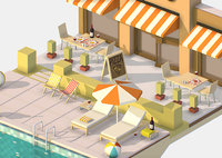 3d Isometric Summer Cafe Pizza by the Pool sun lounger