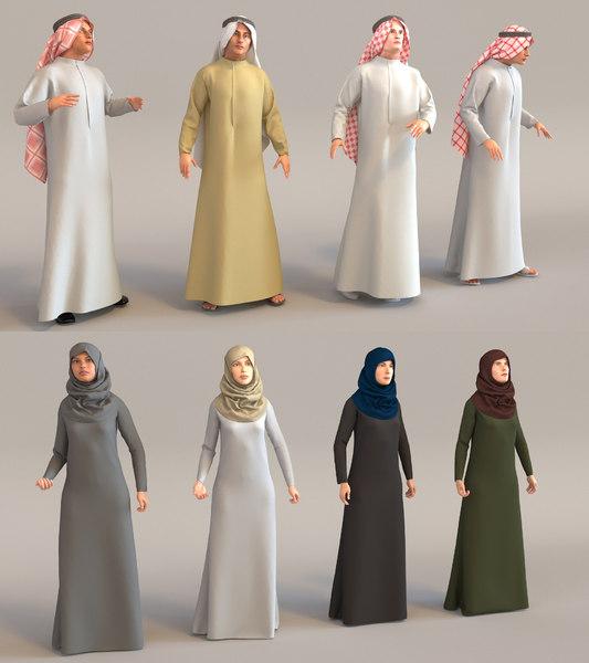 characters arab people man woman 3D model