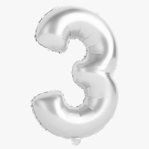 3D foil balloon digit model