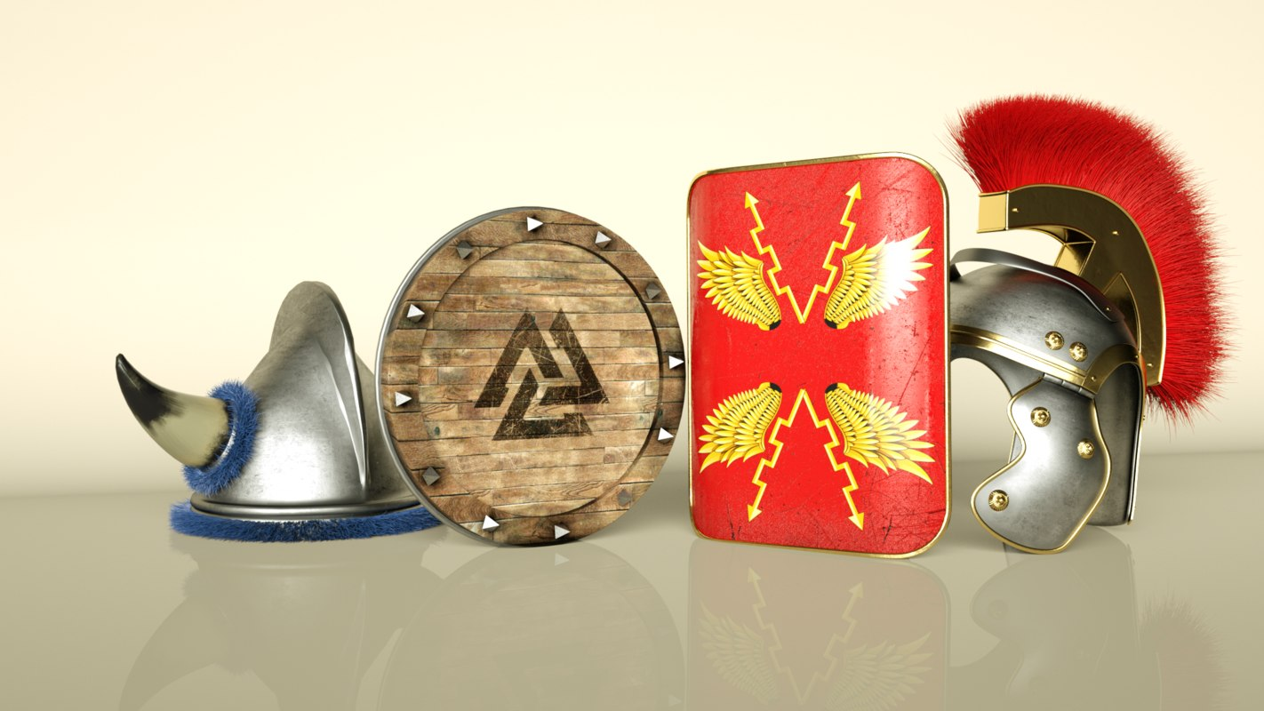 3D model vikings roman helmets