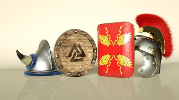 3D model vikings roman helmets