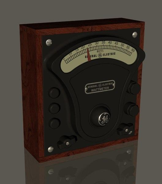 3D vintage ge watt meter