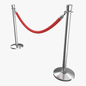 realistic stanchion rope 3D model