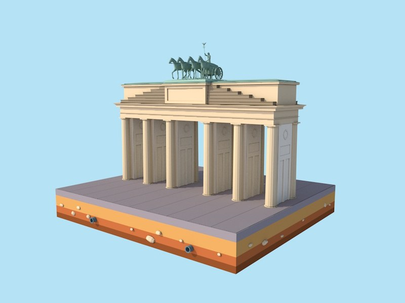 cartoon berlin brandenburg gate model