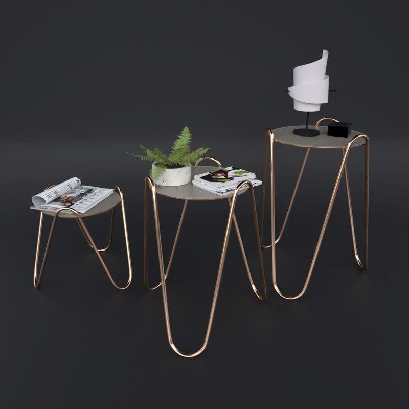 tables rose gold 3D
