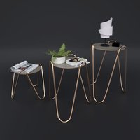tables rose gold 3D
