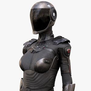 3D female cyborg