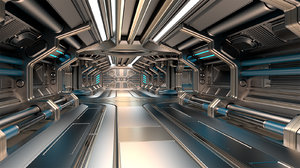 3D model sci-fi modular corridor basic