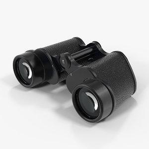 antique black military binoculars 3D model