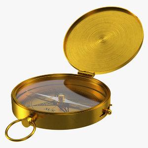 3D vintage brass compass