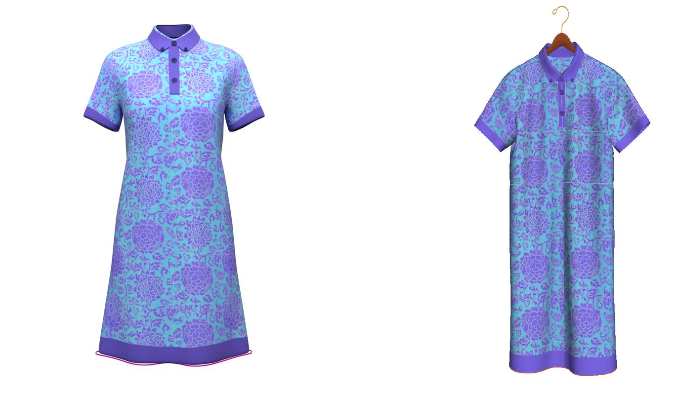 3D shirt dress multiple model