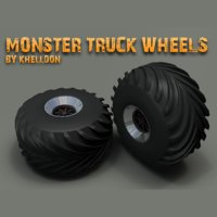 Monster Truck Wheels - Low Poly