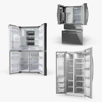 Side By Side Refrigerators 3D Models Collection