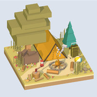 3D isometric camping ground big
