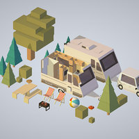 3D camping van car parked
