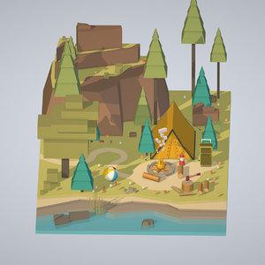 isometric campsite river mountain 3D model
