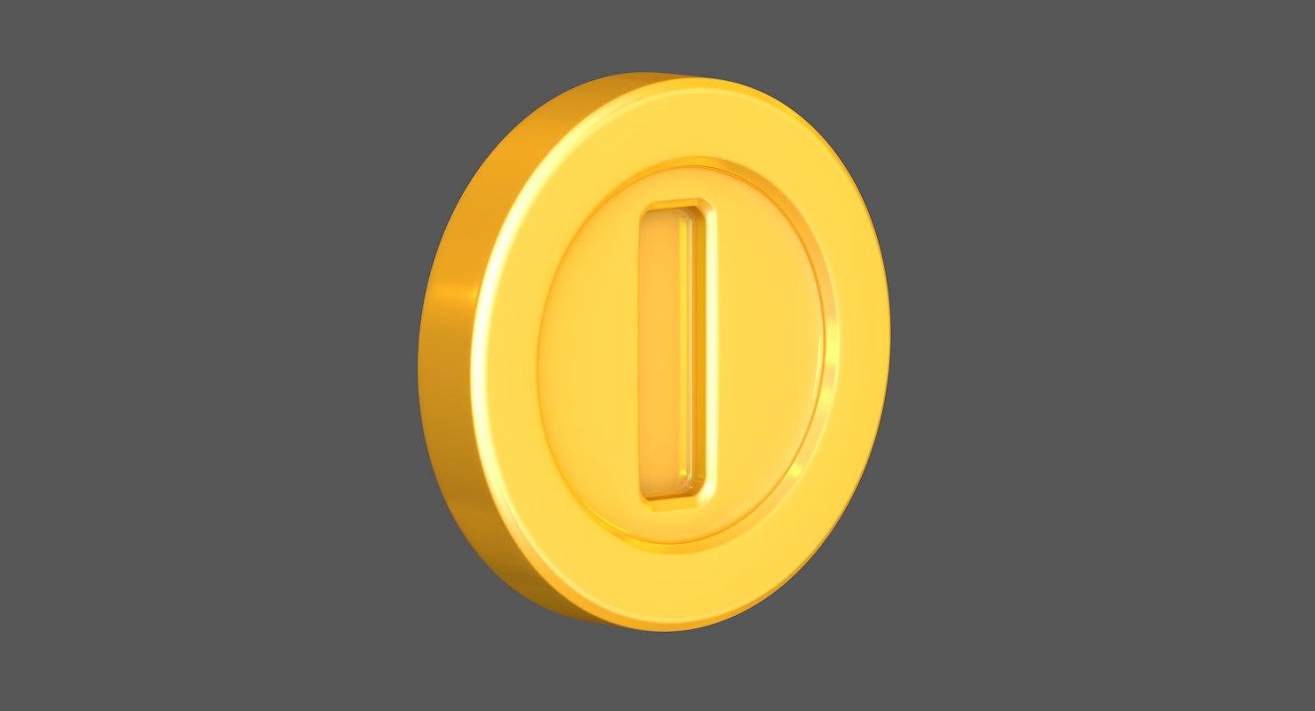 gold coin super mario 3D model