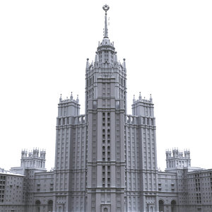 3D soviet building stalinist model