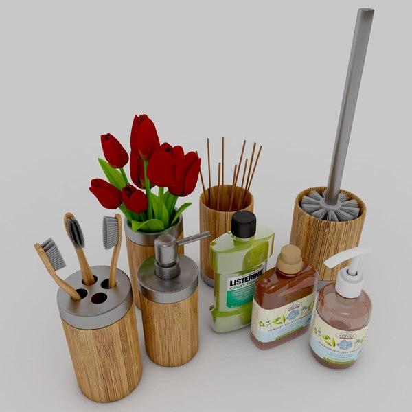 axentia bonja bamboo bathroom 3D model