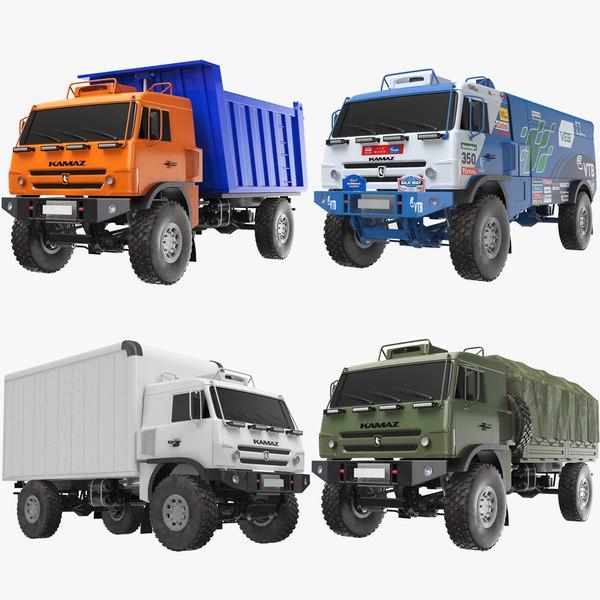 3D model kamaz trucks