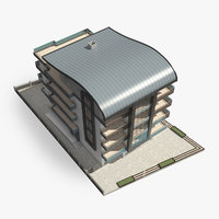 3D modern apartment building roof model