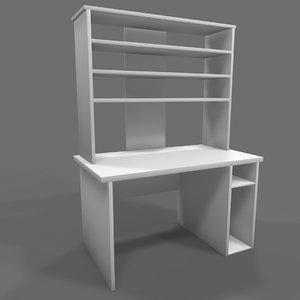 3D computer desk hutch