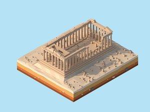 3D cartoon greece parthenon landmark model