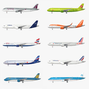 3D airbus 10 liveries airplane model