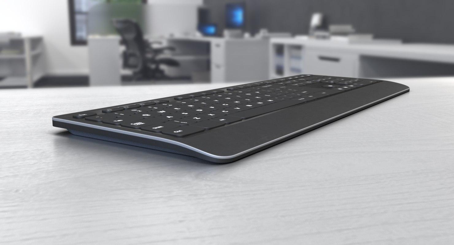 3D wireless keyboard keys model