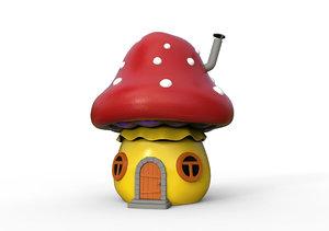 cartoon house mushroom 3D