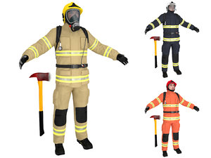 firefighter ready man 3D model